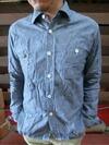 シャンブレーワークシャツ ブルー