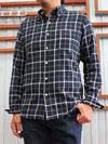 F3386 チェック柄 ボタンダウンコットンネルシャツ