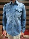 デニムウエスタンシャツ ターコイズボタン