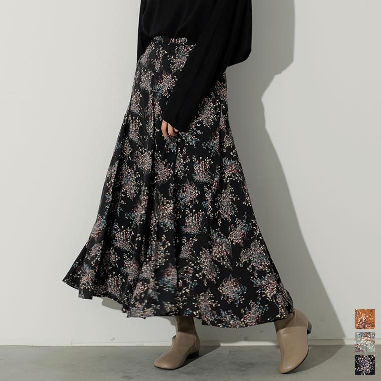 133492_[2020A/W COLLECTION][低身長向けSサイズ対応]ニュアンス花柄フレアロングスカート