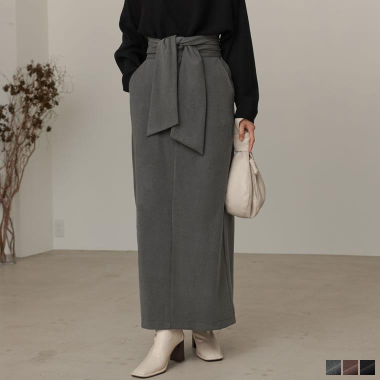 133615_[低身長向け/高身長向けサイズ対応]マシュマロカットウエストリボンタイトスカート