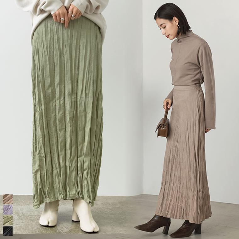 133617_[低身長向け/高身長向けサイズ対応]ライトピーチ起毛ワッシャープリーツスカート