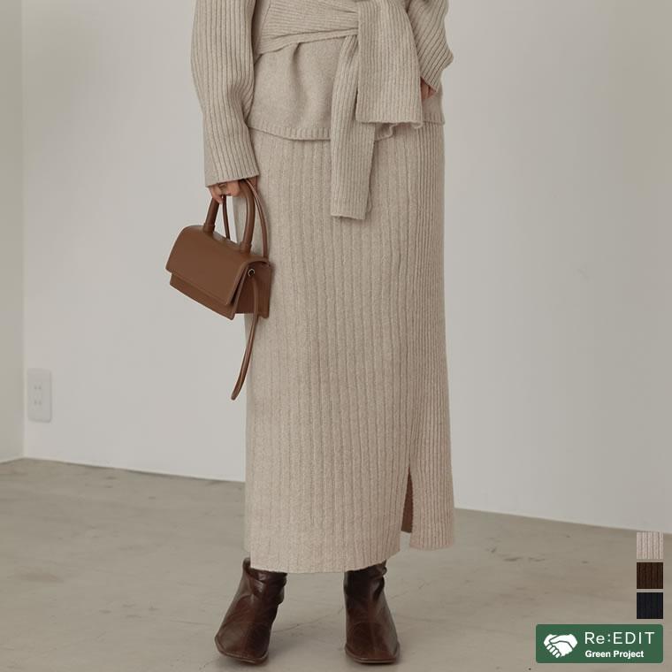 133632_[サステナブル][低身長向けSサイズ対応]リサイクルニットアシメリブタイトスカート