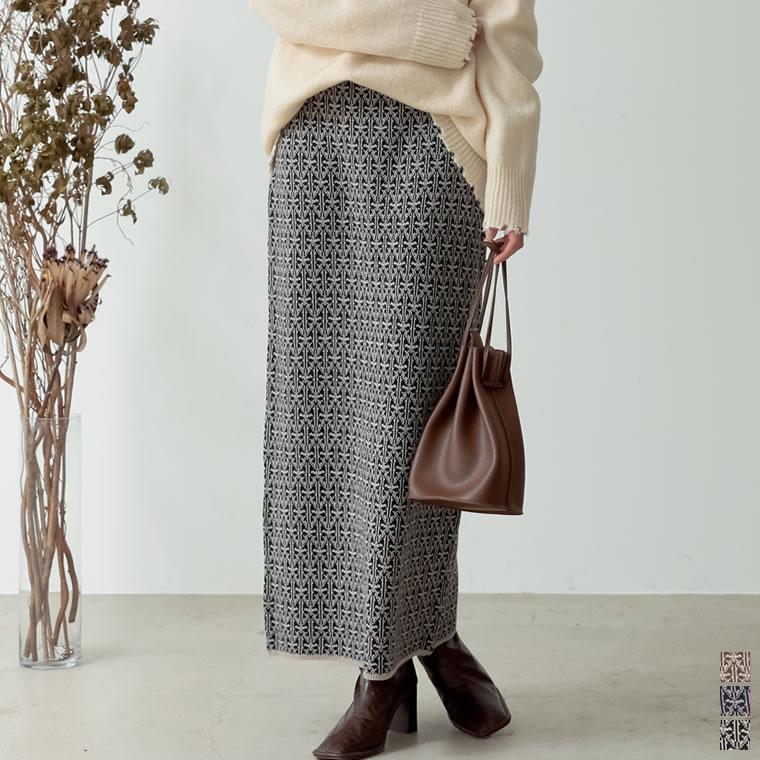 133727_[低身長向けSサイズ有]総柄ジャガードニットタイトスカート