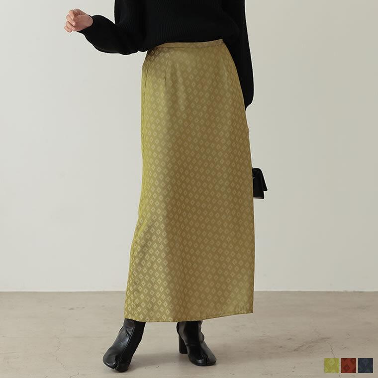 133754_ジャガード小紋柄ストレートマキシスカート