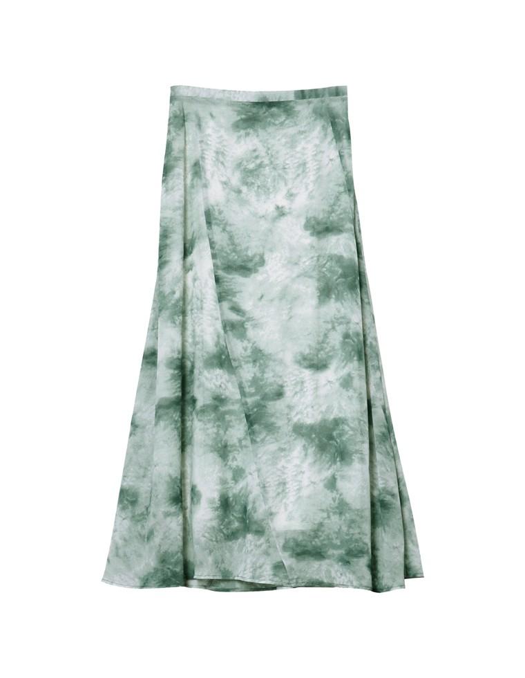 [お家で洗える][低身長向けSサイズ対応]タイダイ柄切り替えセミフレアスカート