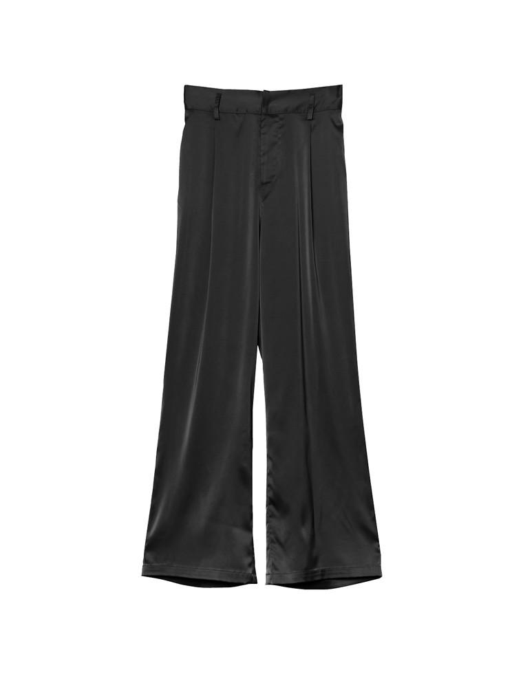 [お家で洗える][低身長向けSサイズ対応]ストレッチサテンストレートパンツ