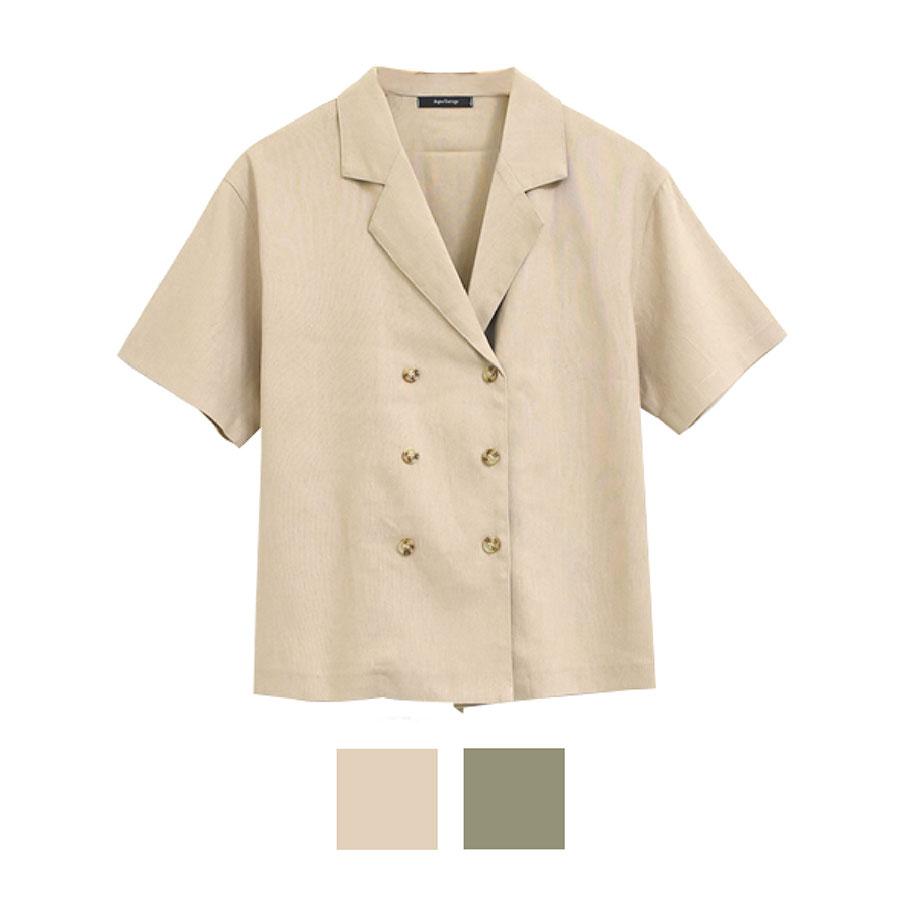 初夏コーデ コーディネート ダブルボタンシャツジャケット