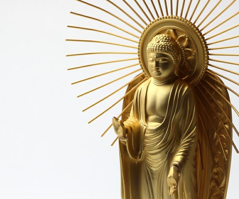 楽天市場】【送料無料】 仏像 阿弥陀如来立像 浄土真宗 御西用 15.7 ...