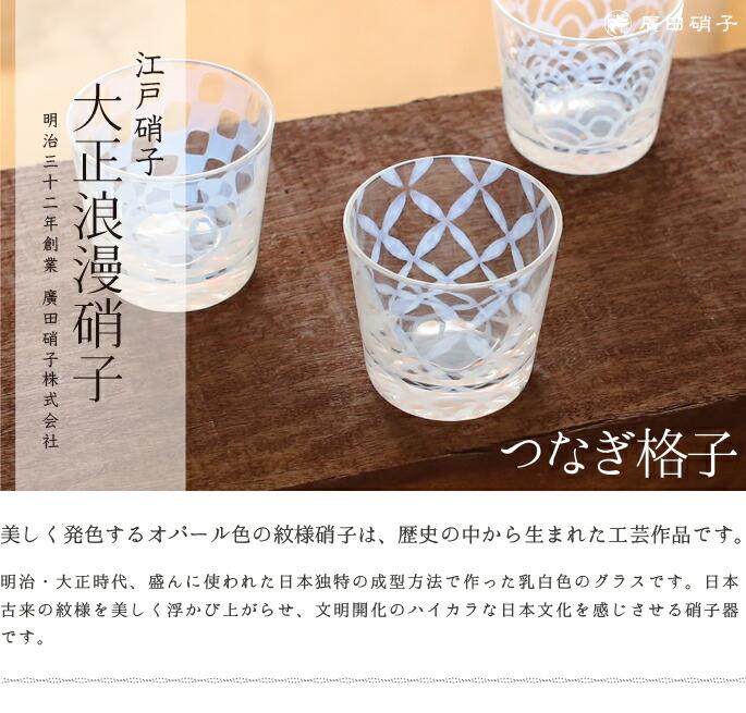 グラス・コップ そば猪口 つなぎ格子 大正浪漫硝子 廣田硝子