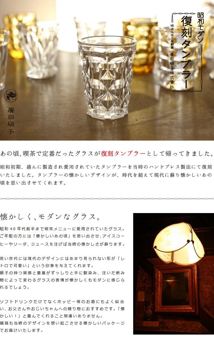 グラス・コップ 復刻タンブラー260 昭和モダン 廣田硝子 ホッピー/天羽の梅にも