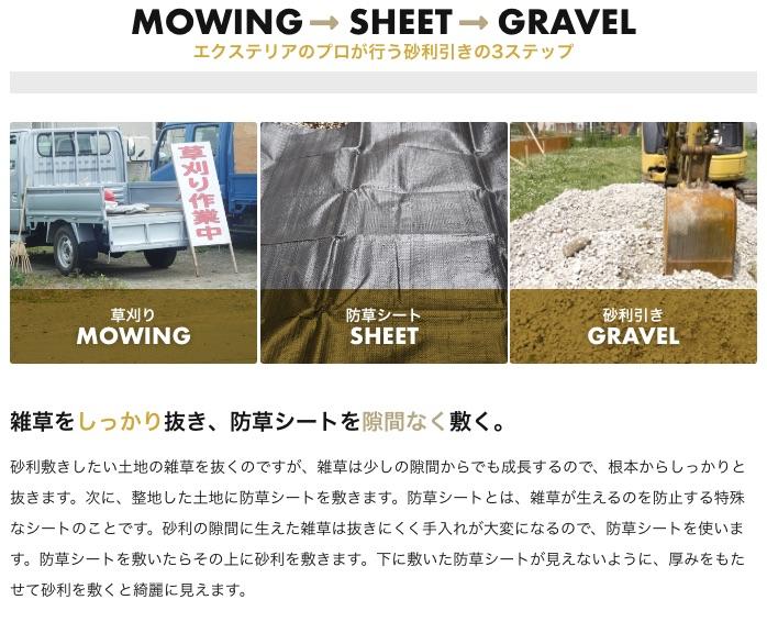 エクステリアのプロが行う砂利引きの3ステップ