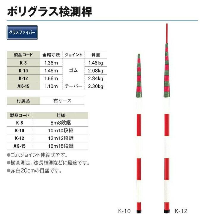 送料無料 ガテン ポリグラス検測桿 資材 測量機器 8m8段継 k 8 工事