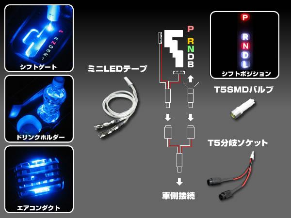 【楽天市場】T5 LED ブルー分岐ソケット型 内装イルミセット 青 T5バルブ ミニ LEDテープ ライト 12V T5分岐ソケット付 ランプ  12V crd:ダイコン卸 直販部