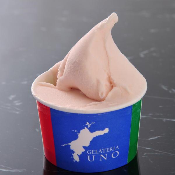 愛媛県松野町の桃源郷マラソンで有名な桃で作った香りと甘みのモモ ジェラート アイスクリーム(季節限定)