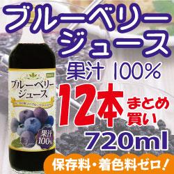 お得なまとめ買い ブルーベリージュース100%720ml×12本
