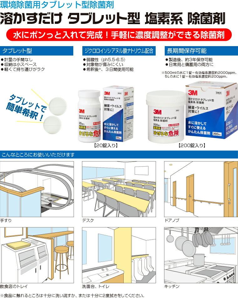 コロナウイルス対策、タブレット型 塩素系除菌剤