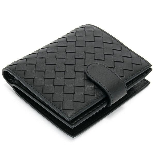 ボッテガヴェネタ BOTTEGA VENETA レザー メンズ 2つ折り財布 ブラック 121059 V001N 1000