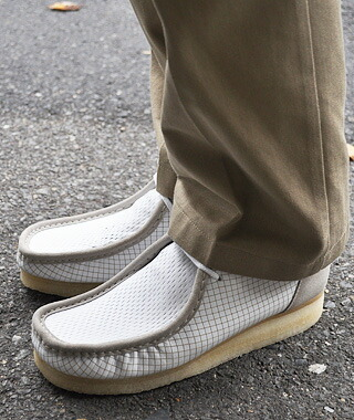 white leather clarks wallabees