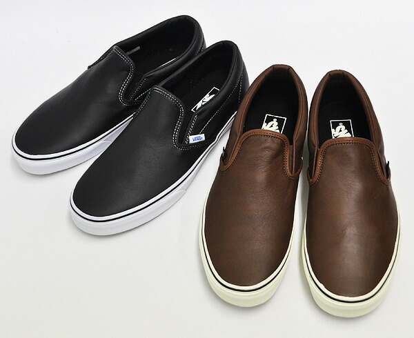 vans aged leather slip on