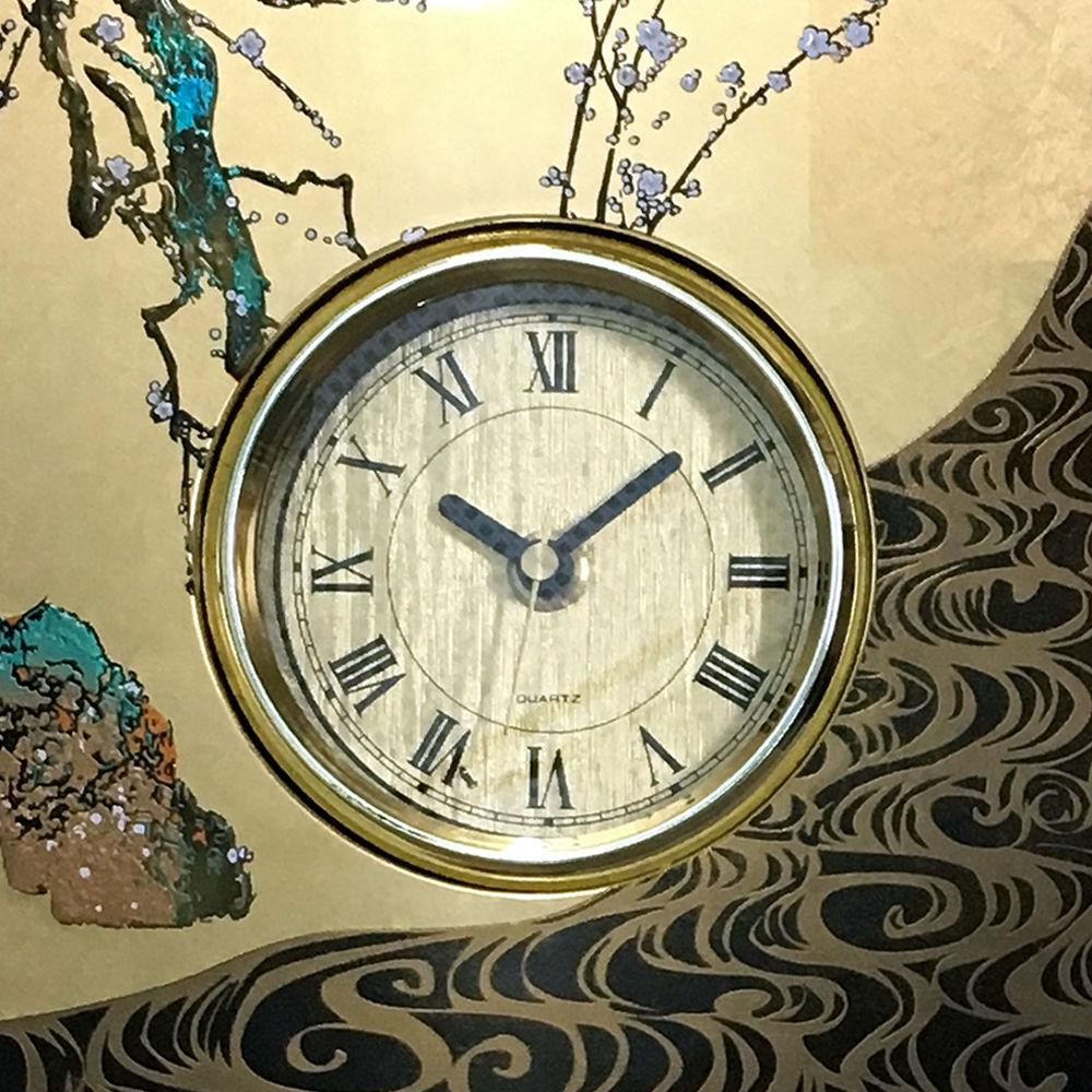 屏風時計宝扇(縁起の良い扇と鶴)