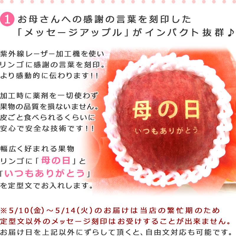 メッセージアップル入りフルーツセット 果物に直接文字を刻印