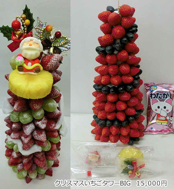 ハッピーカラフルーツ フルーツフラワー クリスマスいちごタワーBIG