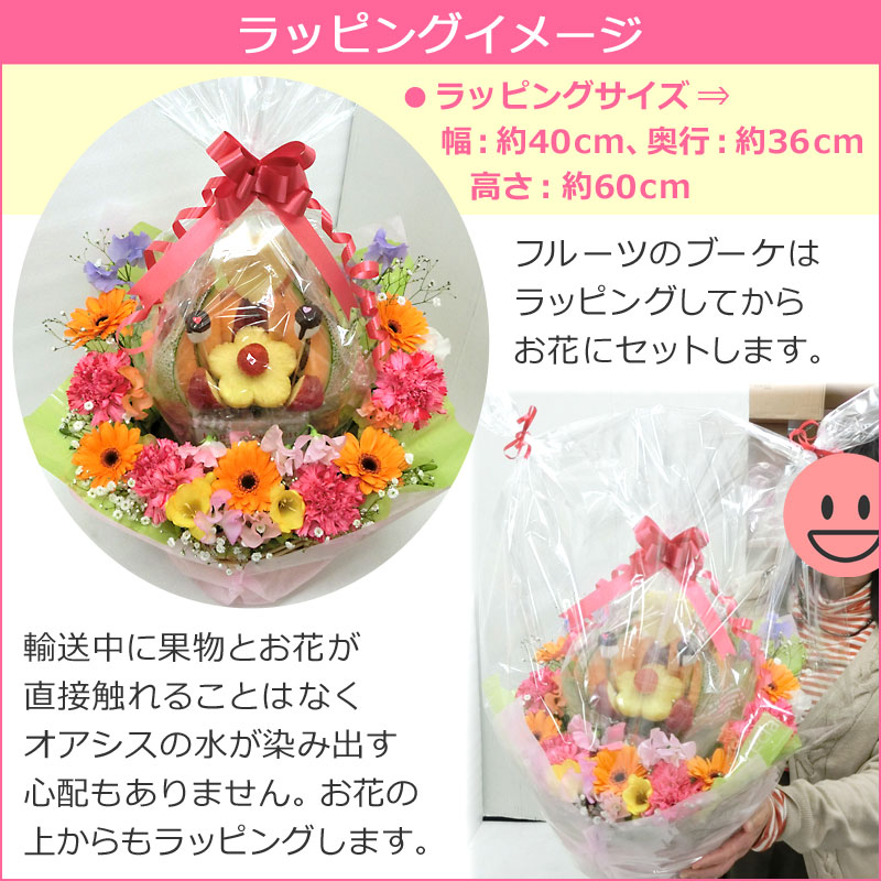 フルーツブーケ ハッピーカラフルーツ 梱包イメージ