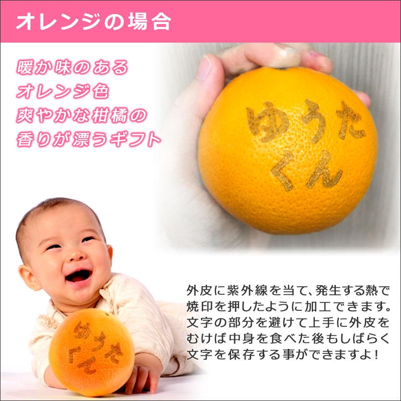ネーム入りフルーツセット お祝い用 オレンジの場合