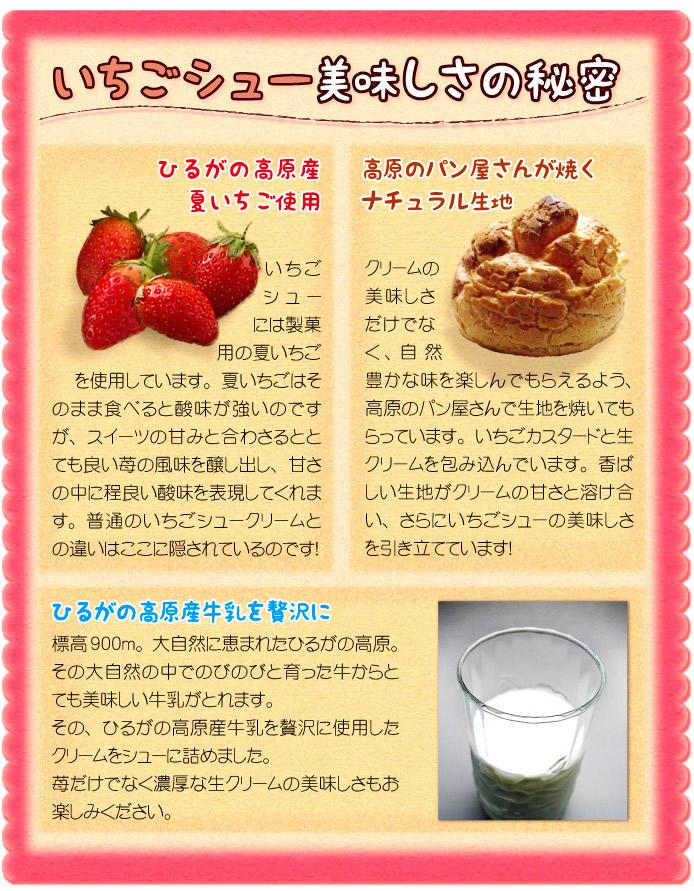ひるがの高原産夏いちご・牛乳を使用