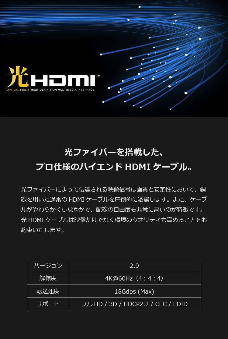 光ファイバーを搭載した、プロ仕様のハイエンドHDMIケーブル。
