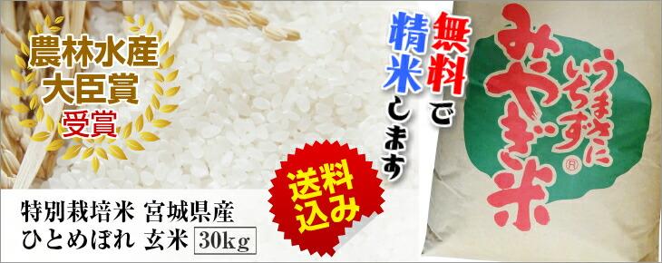 特別栽培米 宮城県産 ひとめぼれ 30kg 玄米
