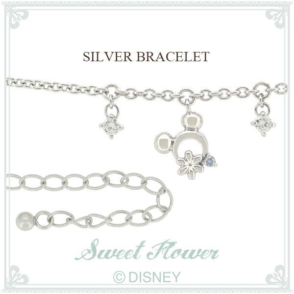 【Disney】 ミッキー フラワー シルバーブレスレット