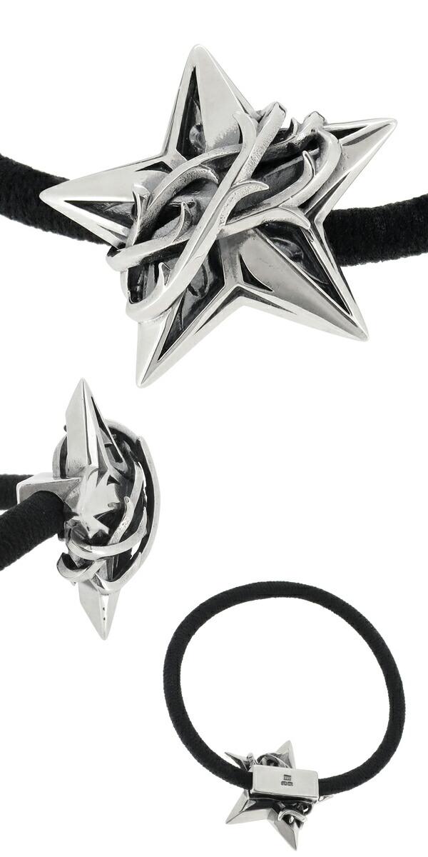 4f21e77cbc91 エムズコレクション スター イバラ ヘアゴム シルバーブレスレット メンズ シルバー925 星 茨 コンチョ チャーム 2way メンズブレスレット  M's collection ブランド ...