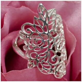 薔薇の透かし模様 シルバーリング