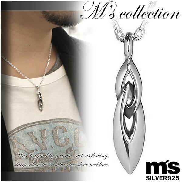 【M's collection】シャープWリング シルバーネックレス