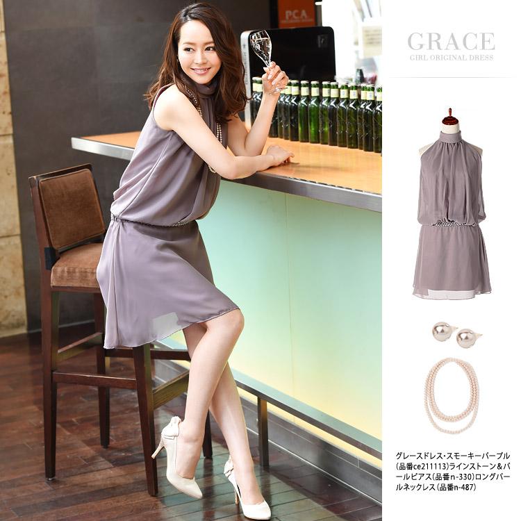 グレースドレス・スモーキーパープル・モデル:青田夏奈