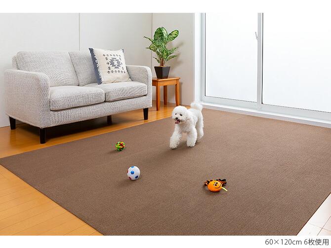 SANKO(サンコー) ペット用床保護マット 60×120cm  犬 猫 ペット用 マット 撥水加工 おくだけ吸着 フロアマット 傷防止 汚れ防止 ずれない