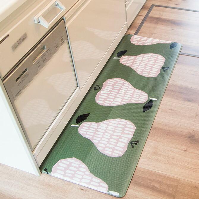 拭ける 北欧風キッチンマット 45×120cm