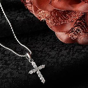 Czダイヤモンドジュエリー クロスネックレス|プレゼント|ギフト|Diamond pierce necklace【宅配便】