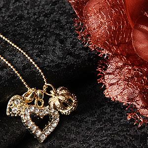 スワロフスキー3チャームネックレス 王冠&ハート&オープンハート|プレゼント|ギフト|necklace【宅配便】