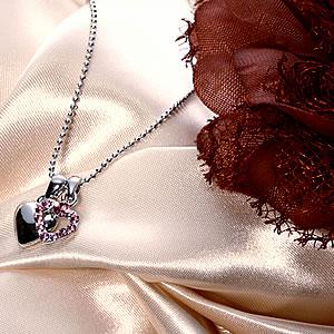 Czピンクダイヤモンドジュエリーオープンハートチャームネックレス|プレゼント|ギフト|Diamond necklace【宅配便】