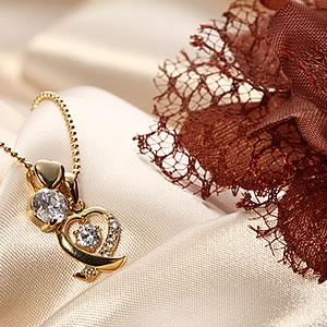ゴールドCzデザインハート&プチハート チャームネックレス|プレゼント|ギフト|Diamond necklace【宅配便】