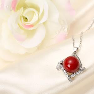 Czダイヤモンドジュエリー珊瑚レッドネックレス|プレゼント|ギフト|Diamond necklace|真珠【宅配便】