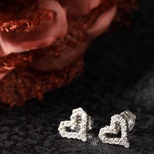 Czダイヤモンドジュエリーオープンハートパヴェピアス|プレゼント|ギフト|Diamond pierce【宅配便】