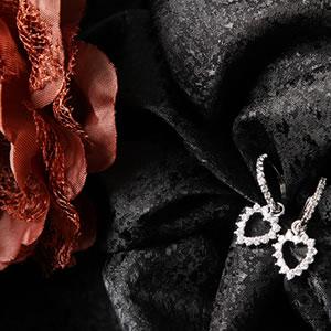 Czダイヤモンドジュエリーオープンハートフープピアス|プレゼント|ギフト|Diamond pierce【宅配便】