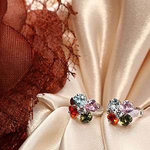 Czダイヤモンドジュエリーマルチカラークローバーピアス|プレゼント|ギフト|Diamond pierce【宅配便】