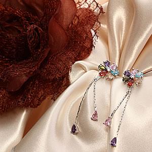 Czダイヤモンドジュエリーフラワーモチーフマルチカラーピアス|プレゼント|ギフト|Diamond pierce【宅配便】