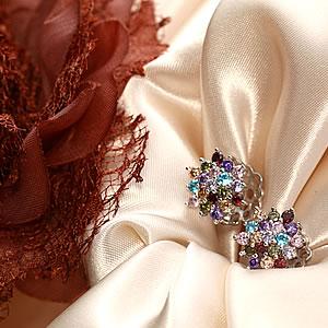 Czダイヤモンドジュエリーフラワーモチーフシャイニングブーケピアス|プレゼント|ギフト|Diamond pierce【宅配便】