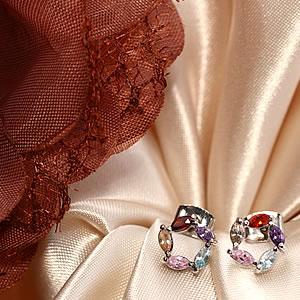 Czダイヤモンドジュエリーフラワーリングピアス|プレゼント|ギフト|Diamond pierce【宅配便】